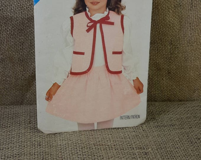 Butterick 5419, vintage childrens sewing pattern from 1985, childrens vest and skirt, vintage pattern for childrens clothes 2.00 US shipping