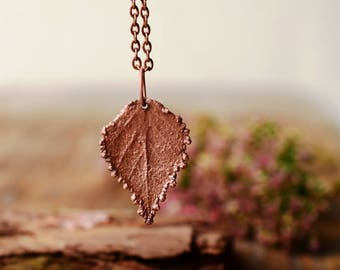 leaf charm necklace, botanical copper electroplated jewelry, electroformed leaf pendant, nature jewelry, gift for her