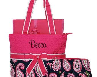 Baby Diaper Bag Personalized Diaper Bag   Monogram Diaper Bag   Toddler Bag   Girls Diaper Bag   Hot Pink Paisley Pink Trim Diaper Bag
