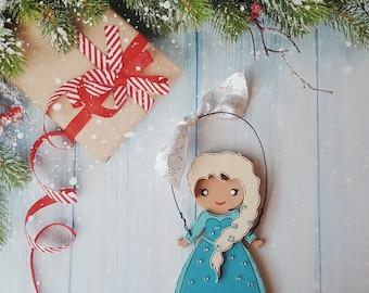 Elsa Christmas Ornament, Disney Princess, Anna, Cinderella, Rapunzel, Jasmine, Snow White, Belle, Aurora, Moana, Tiana, Ariel, Merida, Mulan