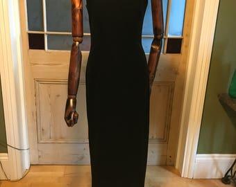 Vintage 90's black velour velvet evening dress strappy deep slit Approx UK 10 - 12 US 6 - 8