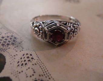 Lovely Sterling Silver Ruby Ring  Size 6