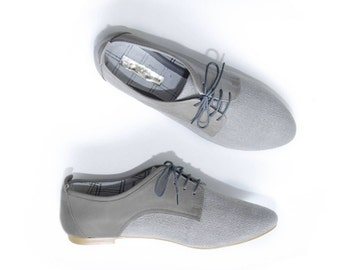 Gray Oxford Shoes - Leather and cotton  - Women Brogues - Mina Shoes Mexico