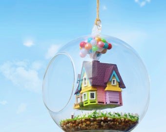 Flying house - cabin-Glass Ball with Light* DIY Handcraft Miniature Project Kit * House model making project