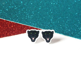 Panther stud earrings, big cat earrings, cat gifts, cat earrings, girls earrings, acrylic earrings, panther jewellery, black earrings