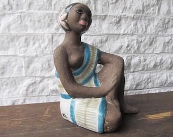 Polynesian woman figurine Mari Simmulson Upsala Ekeby Sweden 60's