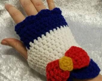 Sailor Moon inspired fingerless gloves