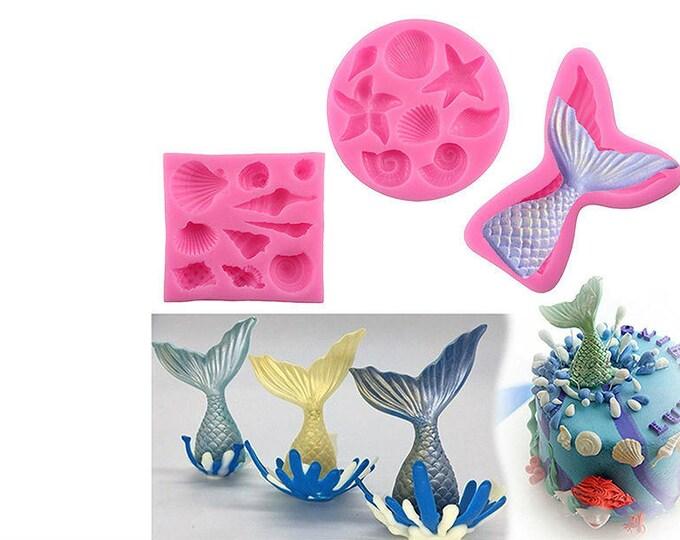 2 pc Under the Sea Seashells Shells Silicone Mold Set - XL112 - Baking Fondant Happy Birthday Party Mermaid Sea