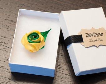 Rose Lapel Pin / Rose Boutonniere / lapel pin flower / Men's Lapel Pin / Yellow and Emerald Green Rose Lapel Pin / lapel pins men
