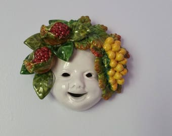 Italian Majolica Ceramic Wall Hanging Mask - Summer with Grapes and Pomegranates - Handmade Faience Fravolini Orvieto Umbria Italy - Signed