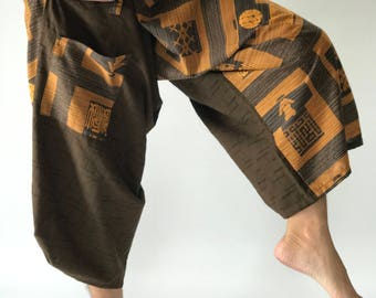 SR0148 Brown Chinese Squares Samurai Pants pants, wrap around waist, Samurai pants style wrap around waist