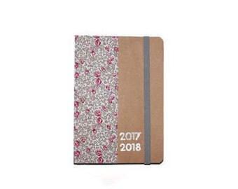 School calendar 2017 2018 cover in fabric Liberty Eloise - school supplies