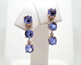 2.95ctw Tanzanite 14kt Rose Gold 3 Stone Drop Dangle Earrings