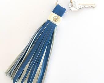 Freya Leather Tassel Key Ring:  Royal Blue and Off White / Cream