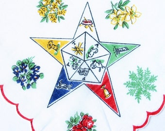 Order Of The Eastern Star O.E.S. Vintage Handkerchief 1950s Hanky Masonic Collectible Freemasons Vintage Hankie Masonic Lodge Fraternity