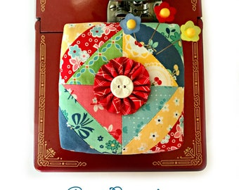 Scrappy Strips Patchwork Pincushion - Sewing Accessory - Filled with Crushed Walnut Shells - Includes Flower Pins! - From Curry Bungalow
