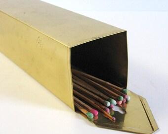 Vintage Brass Match Holder - Long Matchstick Holder - Brass Wall Hanging - Fireplace Decor - Brass Kitchen Stove Decor - Tall Wall Planter