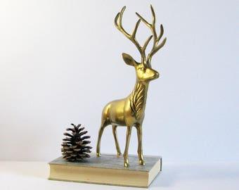 Vintage Brass Deer Figurine - Deer Antler Decor - Brass Stag Statue - Brass Sculpture - Animal Figurine - Brass Home Decor Holiday Reindeer