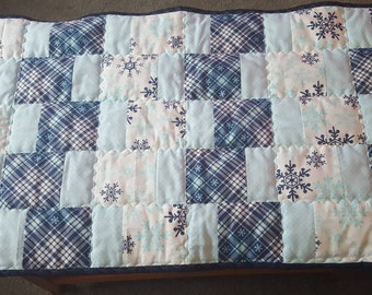 Table runner, Christmas table scarf, holiday table runner, winter wonderland, blue and white table runner, snowflake table runner