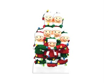 FREE SHIPPING 7 Family Tangled in Lights Family / Personalized Christmas Ornament / Large Family / Big Family / Grandchildren / Friends