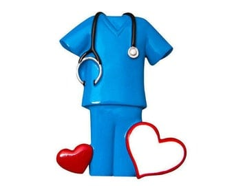 FREE SHIPPING Blue Scrubs with Hearts Personalized Christmas Ornament / Nurse Ornament / Doctor Ornament / Hand Personalized