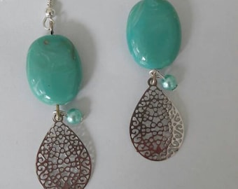 Turquoise earrings, bohemian earrings, teardrop earrings
