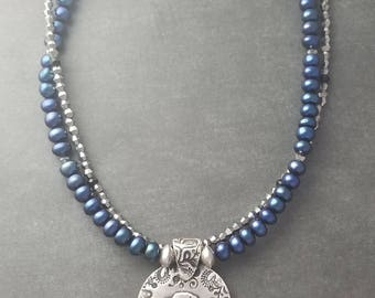 Labrador and Freshwater Pearl Necklace