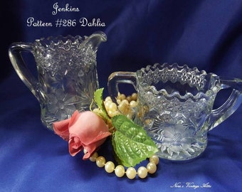 Antique circa 1903, Sugar and Creamer by Jenkins Pattern #286 Dahlia, Lattice and Floral