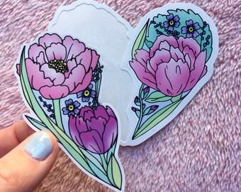 Bff & lovers sticker pack - soft - vinyl sticker - peony - Lovestruck Prints