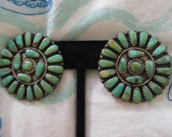 Native American Sterling Silver and Turquoise Petit Point Earrings