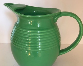 Vintage Bright Green Bosco-ware Ice Lip Pitcher