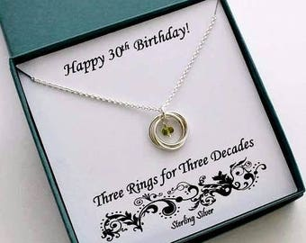30th Birthday Gift For Her, Birthstone Ring Necklace, 30th Birthday Gift, Sterling Silver Birthday, 30th Anniversary Gift, MarciaHDesigns