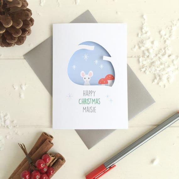 Mouse christmas card - personalised christmas card - xmas card