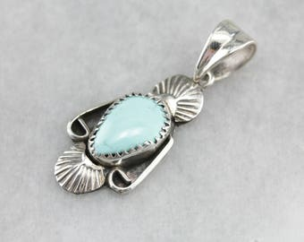 Southwestern Turquoise Pendant, Sterling Silver Pendant, Turquoise Necklace 3EUV2PZL-P
