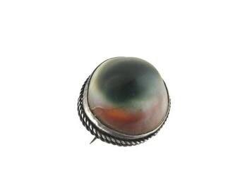 Victorian Operculum Pin / Sterling Silver Shell Brooch /925 Braided Bezel