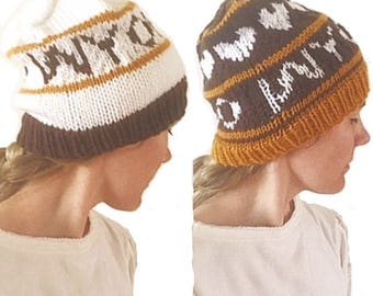 PATTERN: GO WYO Fair Isle Football Fan Hat Pattern, Team Sport Knitting Pattern, Wyoming Team Hat Design, Wyoming College Football Hat