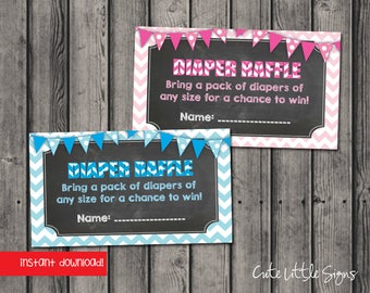 Diaper Raffle Ticket Chalk Chevron Instant Digital Download