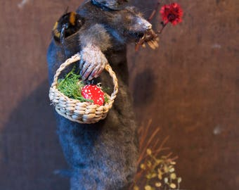 Taxidermy diorama gentle mole picking mushrooms with his friend bumble bee .. as seen on tv