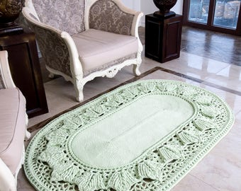 """Big crochet rug, oval area rug (47х72 in), doily rug, yarn lace mat, cottage nursery carpet, rustic floor decor by LaceMats """"LaceHope"""""""