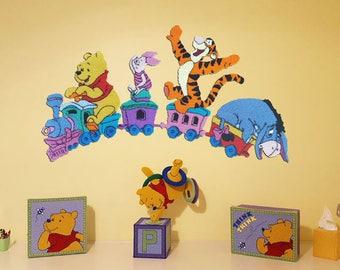 Disney Winnie the Pooh & Friends Wall Decor Nursery Tigger Piglet Eeyore All Aboard 1882 Plastic Canvas