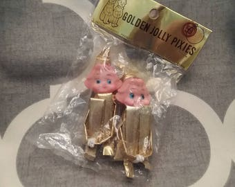 Pair of Vintage Knee Hugger Elves, Golden Jolly Pixies, Japan, 1950's Kitsch Christmas, NOS
