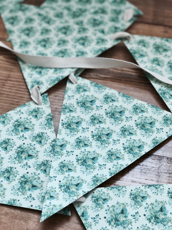 turquoise floral print bunting/ garland