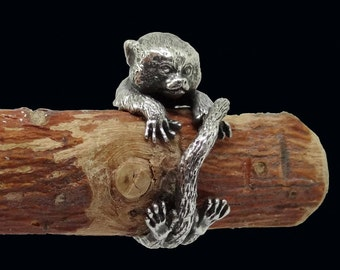 Marmoset Monkey Ring, Sterling Silver Ring, Marmoset Jewelry, Little Monkey Ring, Silver Rings, Animal Ring, Monkey Jewelry, Adjustable Ring