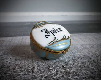 Antique Limoges Pill Box Trinket Box French Apothecary Jar Medicine Ipéca White Porcelain France Blue Hand Painted Guilded Gold Snuff RARE