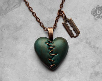Green and copper 'This Love' stapled heart & razor blade Gothic necklace // Polymer clay loveheart + chain // Macabre Horror Punk jewellery