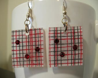 Fun, plaid earrings with Swarovski crystals