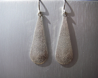 stone finished hand fabricated Sterling Silver drop earring
