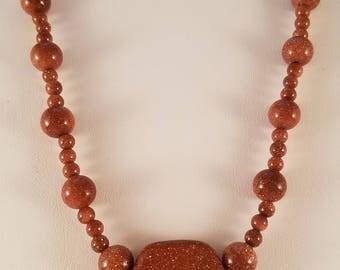 Goldstone Deep orange necklace and earring set