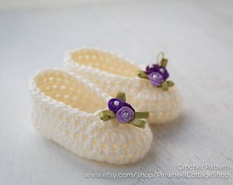 Simply Sweet Baby Slippers, Crochet Booties, Baby Shoes, Crochet Pattern PDF