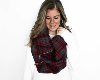 Blanket Scarf Reversible, Infinity Scarf, Reversible Cowl Red Black